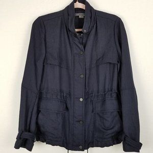 Vince Navy Blue Button Zip Utility Jacket O88